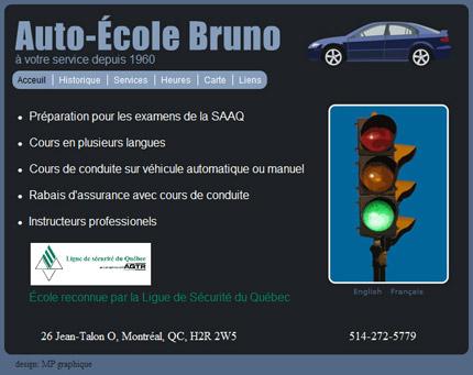 Capture d'écran École de conduite Bruno